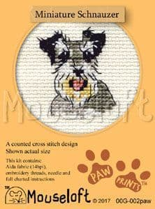 Mouseloft Miniature Schnauzer Paw Prints cross stitch kit